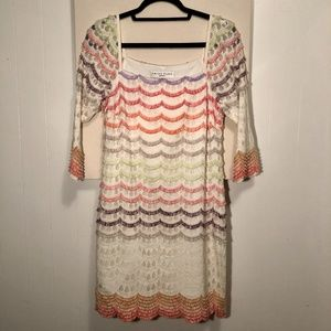 Trina Turk White Lace and Rainbow Fringe Mini Dres